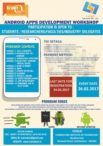 Workshop in android apps Development