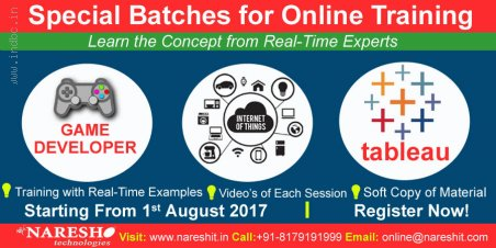 Special Online Training On IoT,Tableau and Game Developer-NareshIT