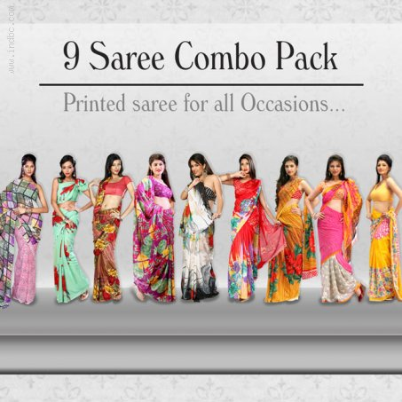 Nine Stylish Designer Sarees Combo call Collection At 09212600900