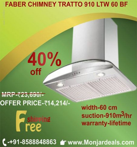 Discount @ 40% FABER SOLARIS PLUS ELECTRIC KITCHEN CHIMNEY